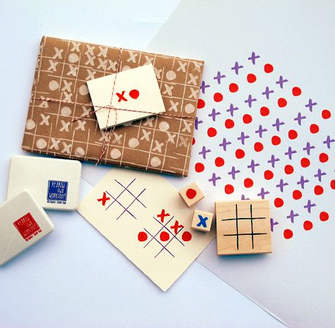 Tic-tac-toe stamp set. What a neat gift idea!