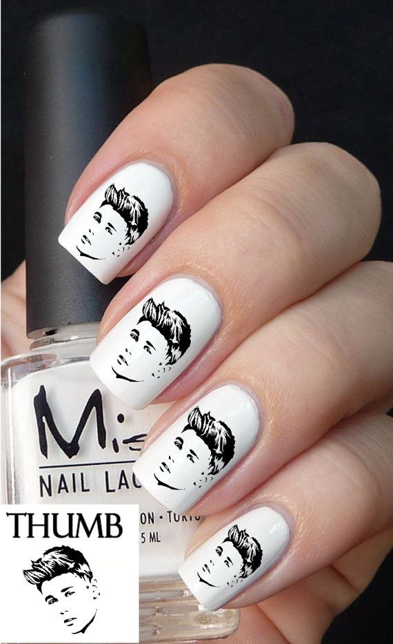 Justin Bieber Nail decal by DesignerNails on Etsy, $3.95  Oh gosh. someone please get me this.