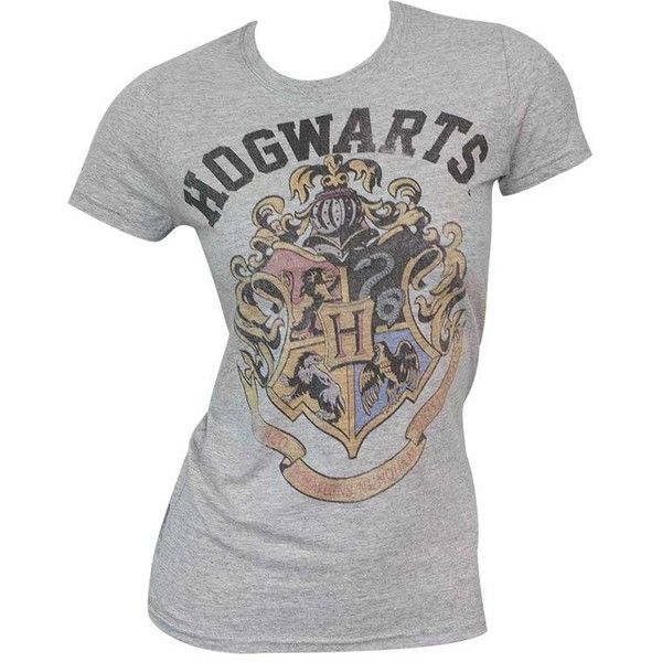 Women's Harry Potter Hogwarts Grey Tee Shirt (£15) ❤ liked on Polyvore featuring tops, t-shirts, gray tees, grey tee, grey t shirt, grey top and gray top