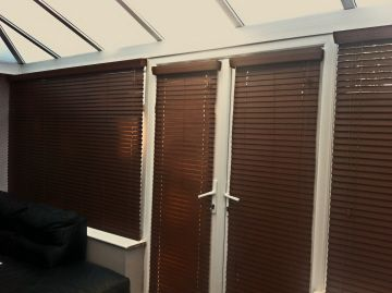A Conservatory Fitted With Faux Wood Venetian Blinds A Fraction Of The Cost Of Wood