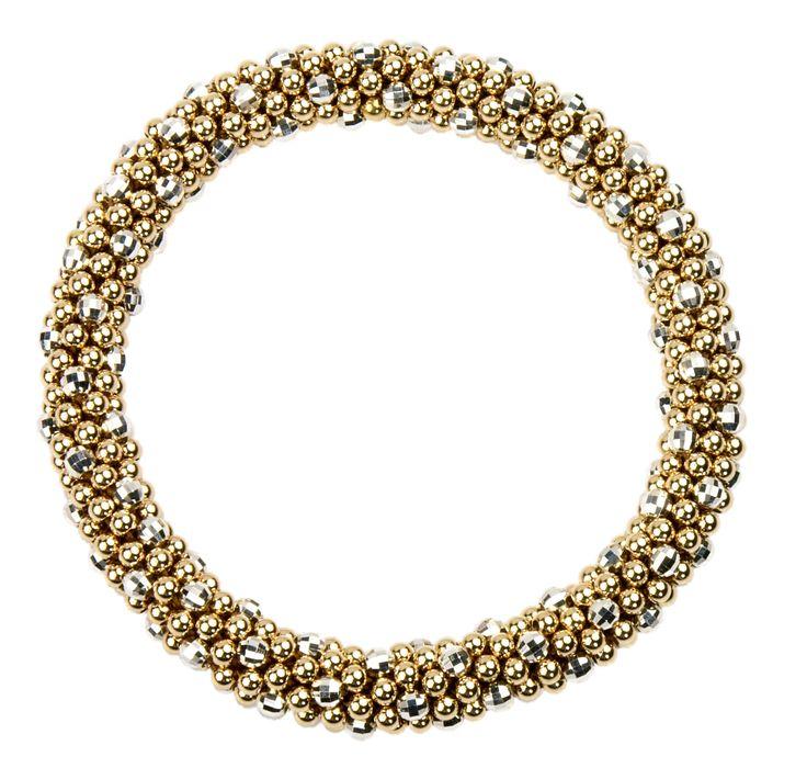 "Beth ""D"" bracelet - 14K gold with faceted silver."