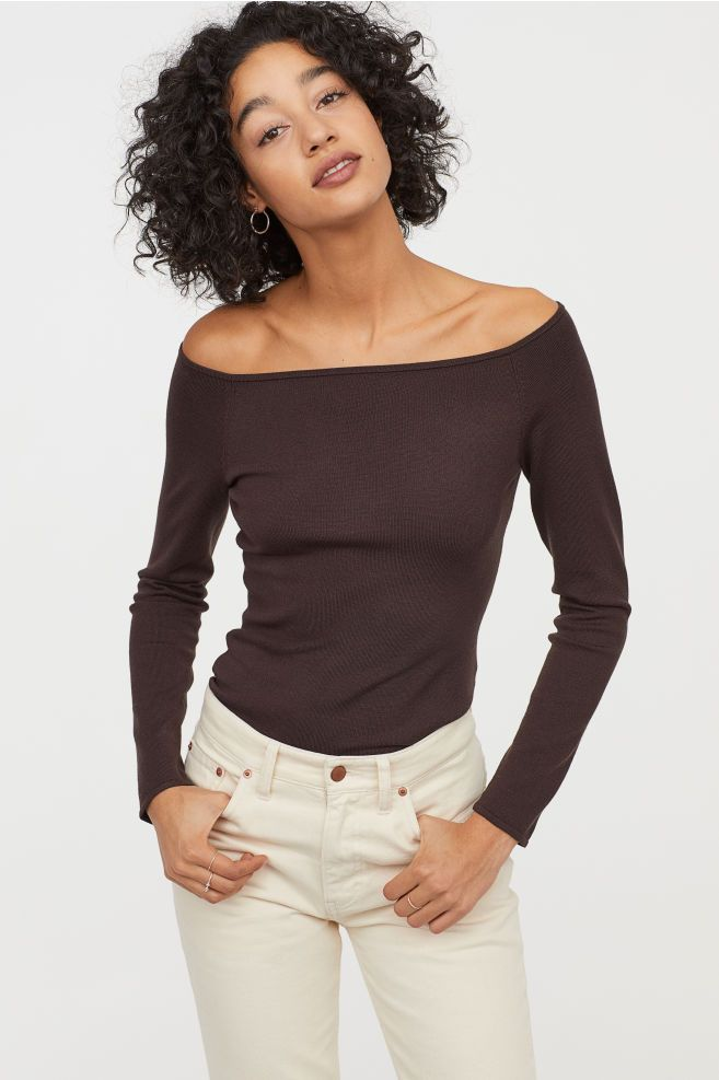 3a5e42af3ba H&M Off-the-shoulder Top - Brown in 2019 | Clothing and Jewelry ...
