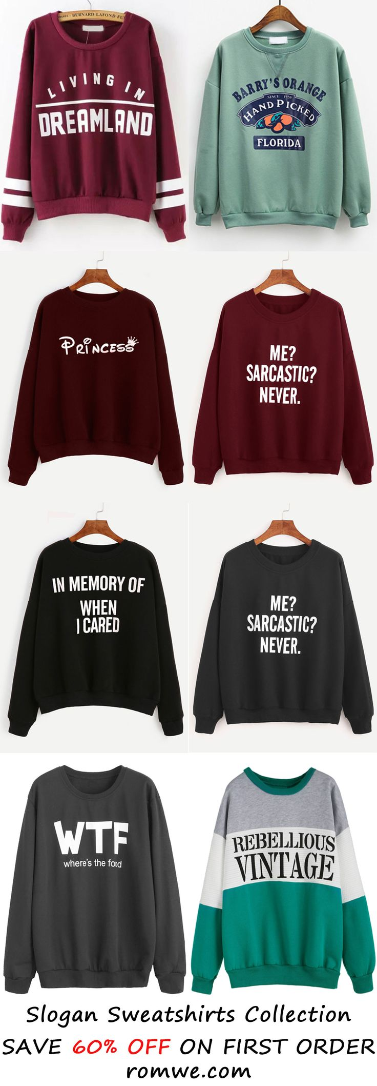 Up to 90% Off - Slogan Sweatshirts from romwe.com http://bellanblue.com