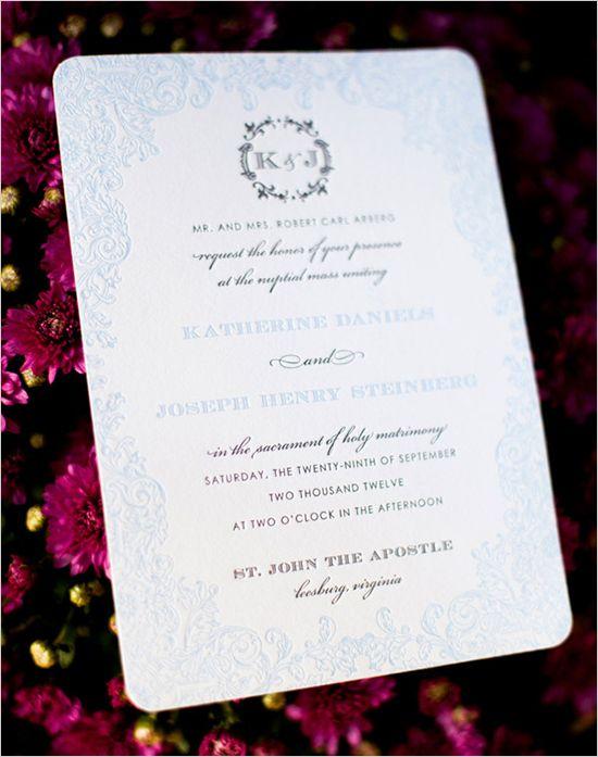 letter press wedding invite