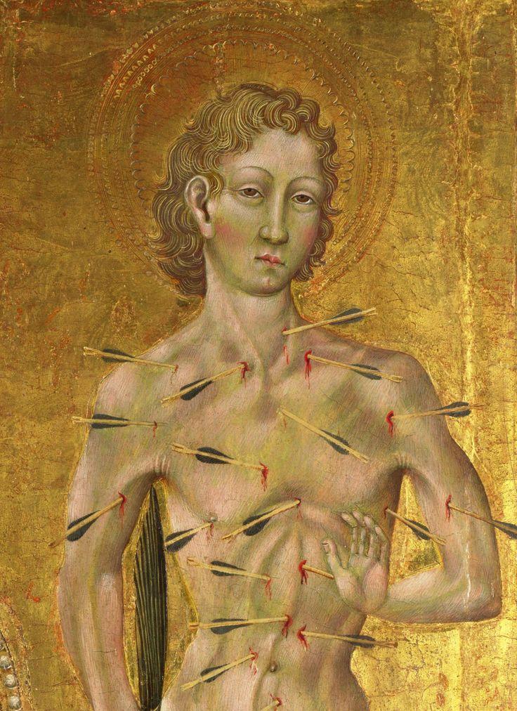 são sebastião, detalhe de pintura de giovanni di paolo (1403-1482)