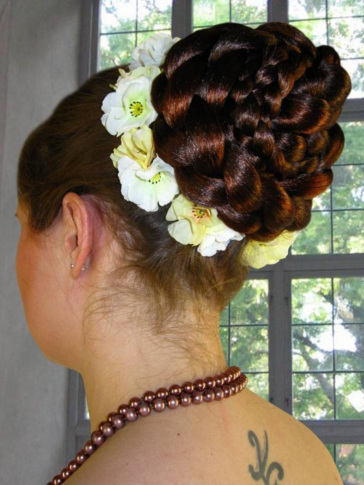 Lovely wedding hair flowers with custom color bun hair piece you find in our shop as well!
