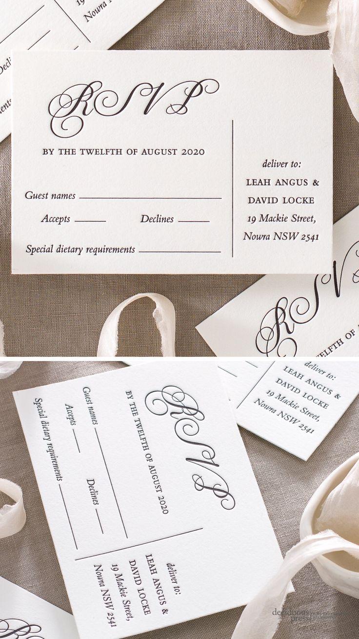Beautiful letterpress rsvp postcards for wedding