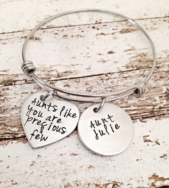aunt gift gifts for aunt mothers day gift bangle by MommysMetalz