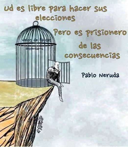 """You are free to make choices but you are a  prisoner of the consequences"" This is so true you have to take responsibility for your actions."