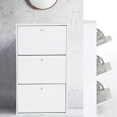 3 Drawer Shoe Cabinet Rack Storage White Cupboard Footwear Stand Hallway Unit