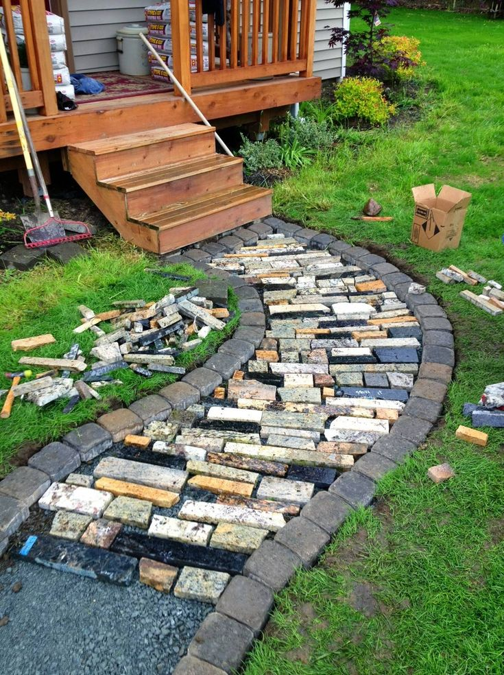 Granite walkway using scraps from local granite shop. Hardly any cost at all!