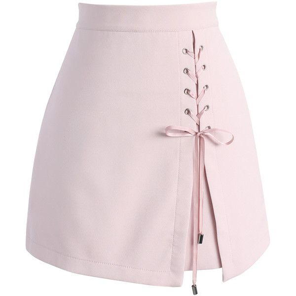 Chicwish Lace-up Obsession Bud Skirt in Pink ($37) ❤ liked on Polyvore featuring skirts, mini skirts, lace up front skirt, pink miniskirt, short mini skirts and chicwish skirts