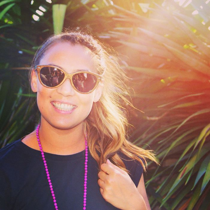 My gorgeous friend Amelia showing off her cool new bamboo sunglasses!