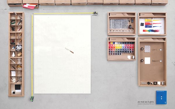 This is an ad for Adobe Photoshop that was created for an Indonesian market. It features all the elements rendered in real objects—cardboard, paper, paint.