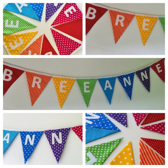 Personalised Bunting - Rainbow with your choice of coloured lettering - MADE TO ORDER - Custom Listing. $45.00, via Etsy.