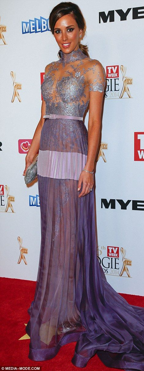 Rebecca Judd wore a sheer J'Aton couture gown in a delicate shade of violet