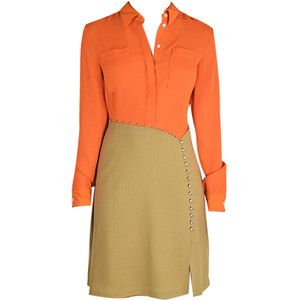 Long Sleeve Shirtdress in Orange
