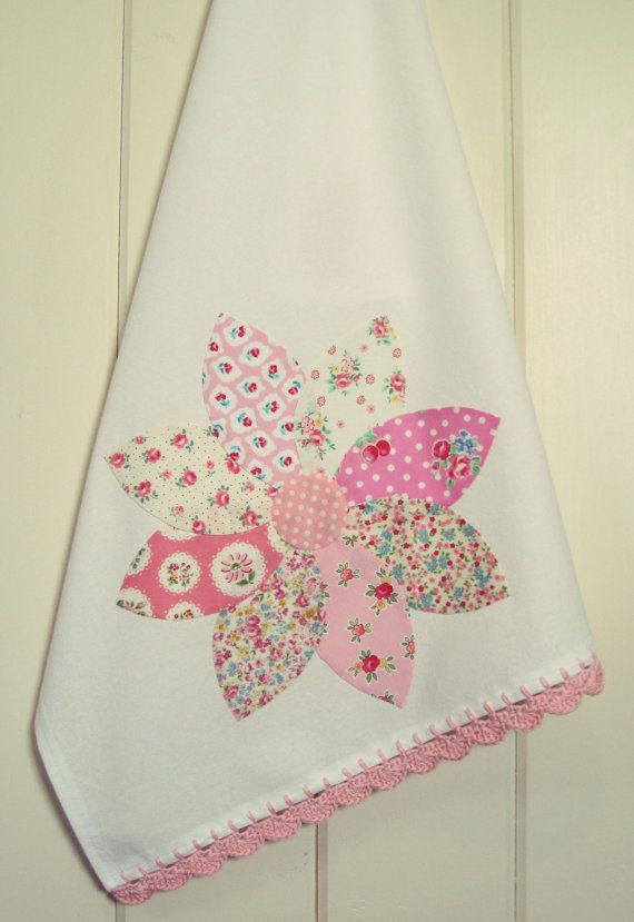 pretty dahlia flour sack tea towel no. 4 new in the shoppe!  vintagegreyhandmade