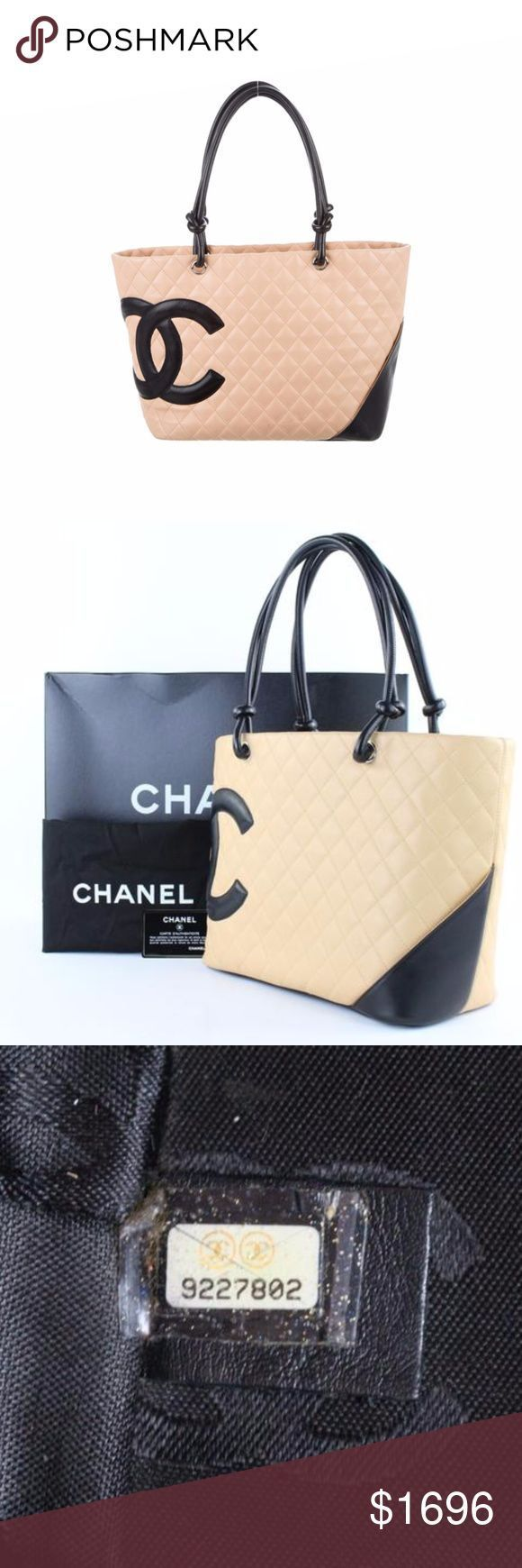 Tendance salopette 2017  Quilted Cambon Ligne Cc 221506 Beige X Black Tote OVERALL EXCELLENT CONDITION (
