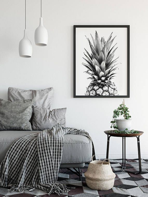 Pineapple print Pineapple poster Black and White pineapple