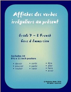 "$ - set of 10 French irregular verb posters   (8.5 x 11"") by Madame Aiello"