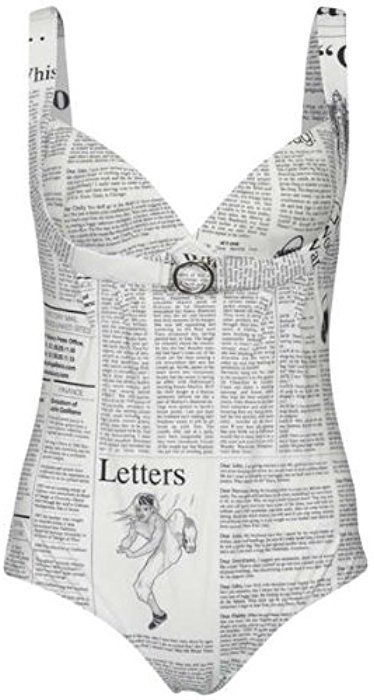d1cb9d72e247 John Galliano Women s Newspaper Print Swimsuit - WhiteXXL  Amazon.co.uk   Clothing