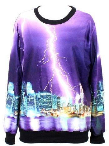 Purple Long Sleeve Lightning City Print Sweatshirt US$31.97