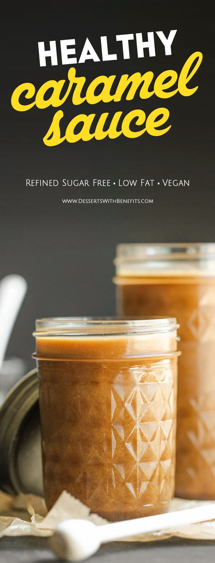 How to make Healthy Homemade Caramel Sauce! This sweet and velvety caramel sauce is made without the white sugar, corn syrup, heavy cream, and butter, but you'd never know it. And did I mention it's vegan, dairy free, and gluten free too? Don't buy caramel sauce, DIY it! -- Healthy Dessert Recipes with sugar free, low calorie, low fat, high protein, gluten free, dairy free, and vegan options at the Desserts With Benefits Blog (www.DessertsWithBenefits.com)