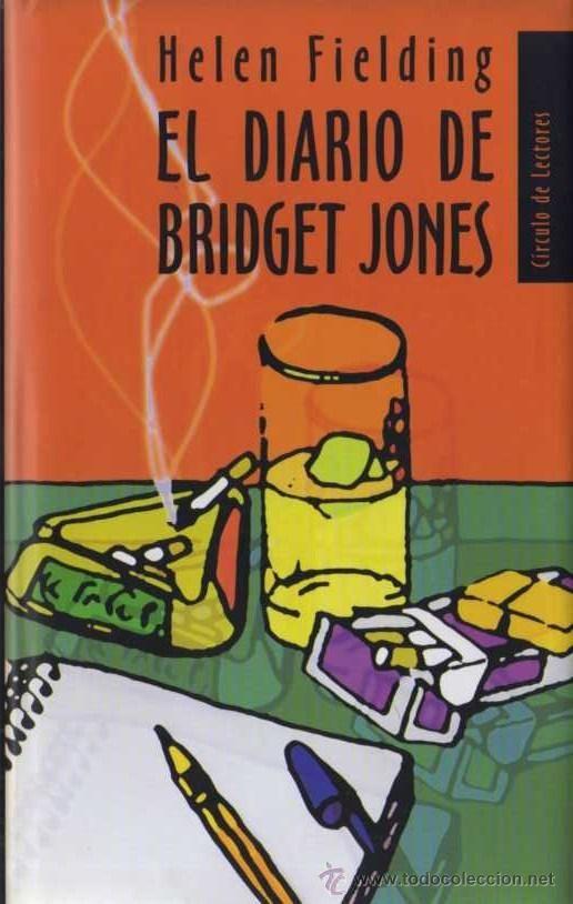 """""""El diario de Bridget Jones"""" Helen Fielding. El libro transcribe un año de la vida de Bridget Jones en forma de diario. Bridget, personaje que se hace rápidamente entrañable al lector, rebasa los treinta años, trabaja en una editorial, vive sola y, al iniciar su diario, se propone cinco objetivos: perder peso, dejar de fumar, controlar el alcohol, ser encantadora y conseguir una pareja estable."""