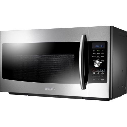 Samsung - 1.7 Cu. Ft. SLIM FRY Over-the-Range Convection Microwave - Stainless-Steel - Left Zoom