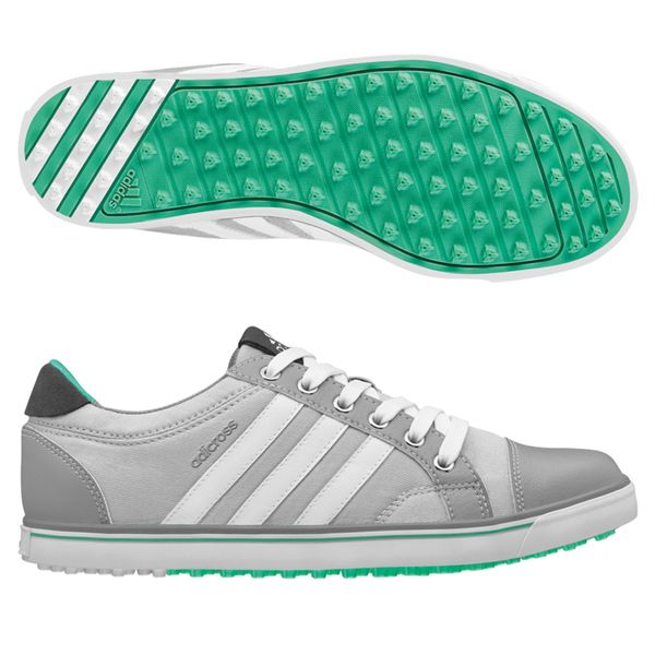 The Adicross IV Women's golf shoes feature a highly-flexible spikeless outsole designed for optimal grip on the golf course and wear-anywhere versatility. They are designed with a lightweight Cloudfoa