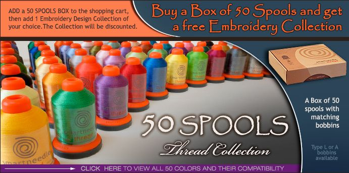 Buy a box of 50 spools and get a FREE embroidery collection!