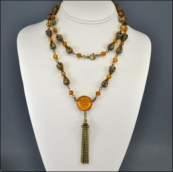 Amber Glass Cameo Brass Tassel Art Deco Necklace Vintage 1920s Jewelry Art Deco Jewelry.