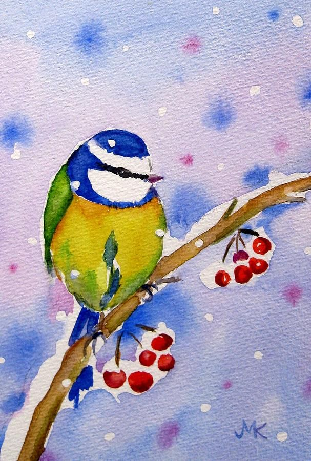 Blue Painting - Blue Tit With Berries by Meltem Kilic