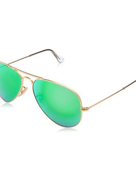 Ray Ban Aviator Sunglasses with Crystal Green Mirror Lens