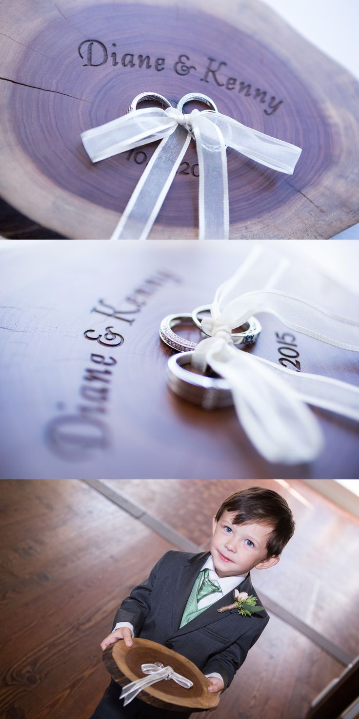 """Ring bearer """"pillow"""" made from a tree ring, engraved with the couple's names and their wedding date. (c) Greg Ceo, Savannah Wedding Photographer"""