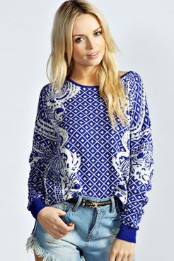 Natalia China Print Angora Mix Jumper at boohoo.com