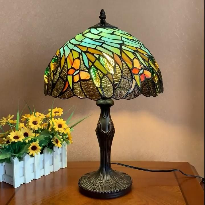 Ht Tiffany Style 12 Wheat Ears Table Lamp Video In 2020 Stained Glass Table Lamps Tiffany Stained Glass Stained Glass Lamps