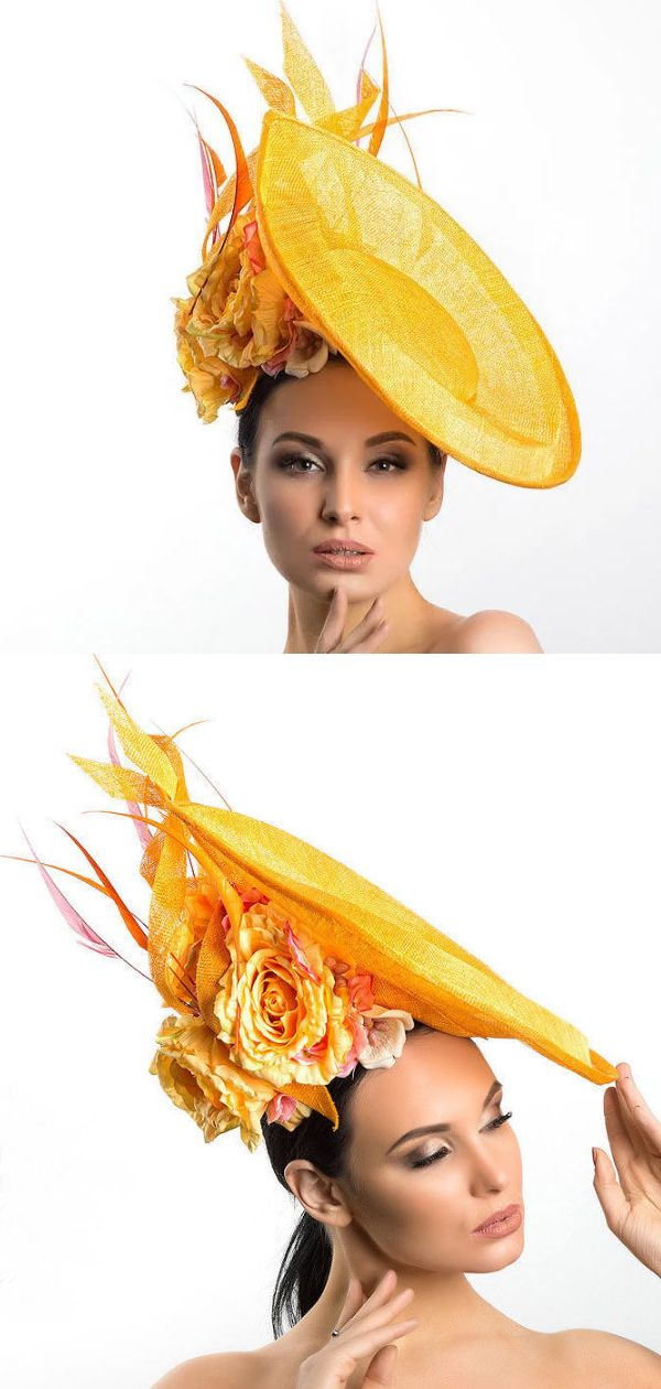 Golden Yellow Hat. Yellow Fascinator. Ornate Yellow Fascinator for the Races.  What to wear to the races in Summer. How to wear Yellow. 5f1f0e21954