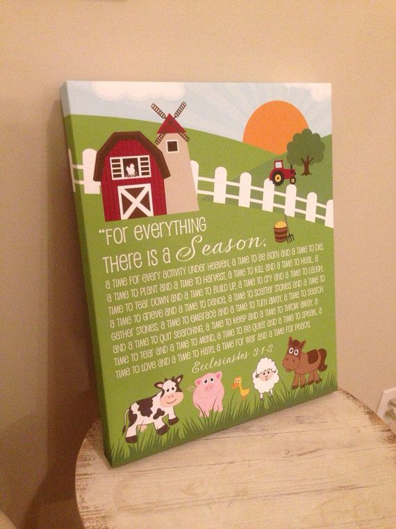"""Custom Artwork Ecclesiates 3:1-8; Farm Animals, 16"""" W x 20"""" T X 1"""" D Canvas, Nursery, Playroom, To everything there is a season, Colorful"""