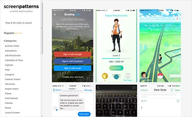 モバイルのUIパターンを集めたデザインギャラリー・「Screen Patterns」 - かちびと.net