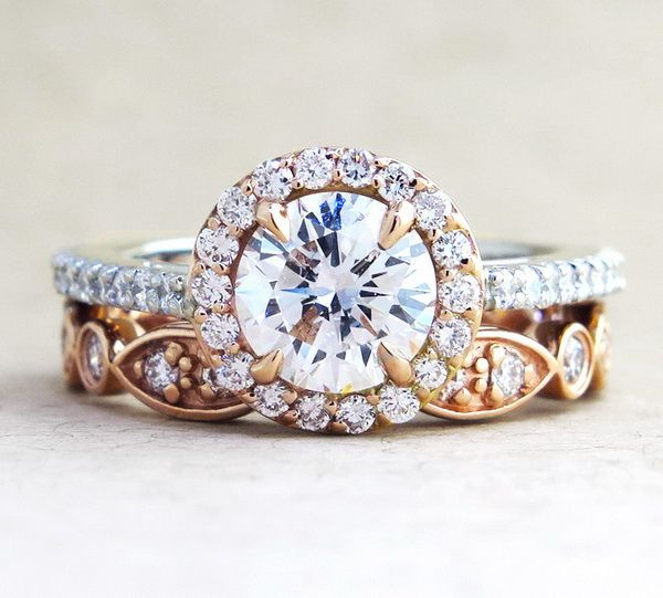 rose gold round cut wedding engagement ring