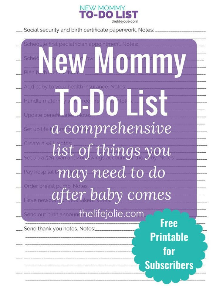 This New Mommy To Do List Is A Comprehensive List Of Things That