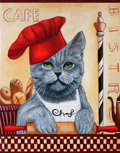 Custom Cat Portraits Art Prints and Cats in Clothes Paintings  from Original Painting Chef Roberto by k Madison Moore - pinned by pin4etsy.com