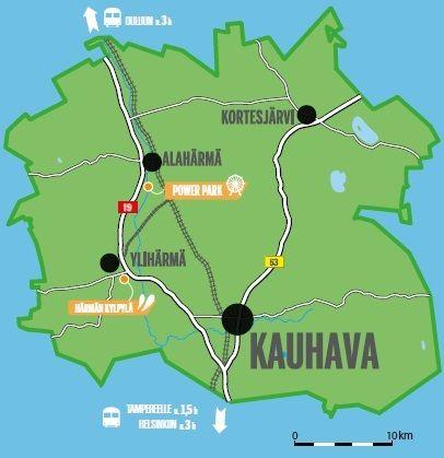 Kauhava koostuu neljästä kaupunginosasta: Alahärmästä, Ylihärmästä, Kauhavasta ja Kortesjärvestä. Powerpark sijaitsee Alahärmän kaupunginosassa ja Härmän Kylpylä Ylihärmässä.