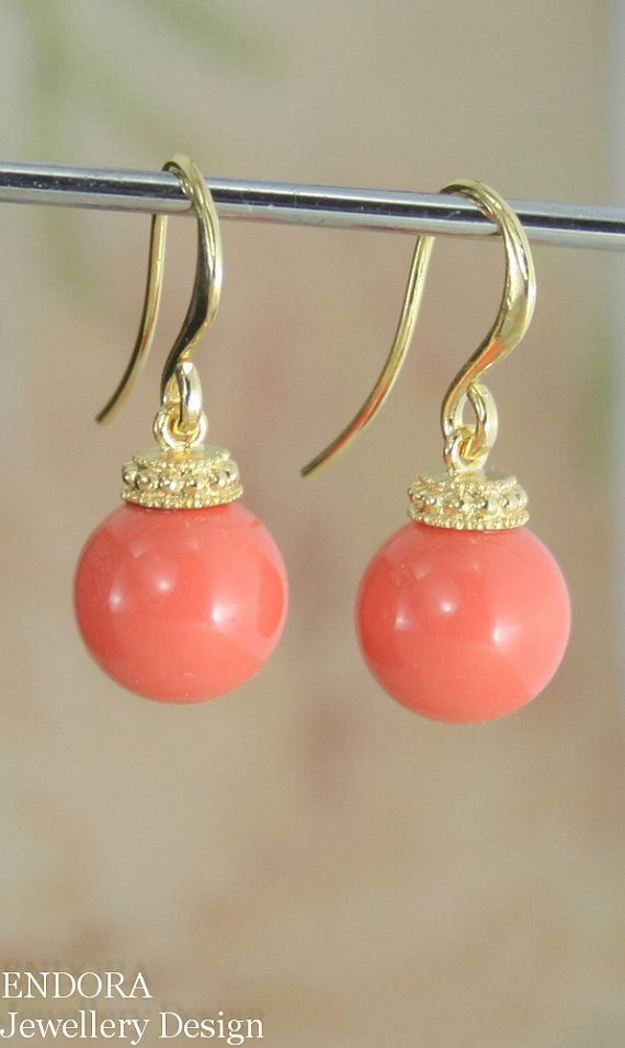 Coral earrings | Coral jewelry | Coral bridesmaid earrings | Coral wedding | Tangerine wedding | #EndoraJewellery