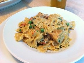 Chicken and Farfalle Pasta in a Roasted Garlic Cream Sauce - my favourite dish from the Cheesecake Factory