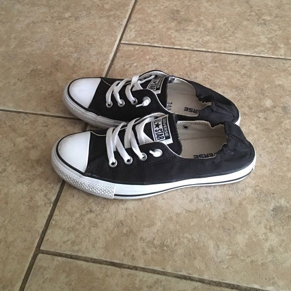 Black converse slip ons, size 6 but fit like an 8 Only worn for 30 min, no marks or flaws Converse Shoes
