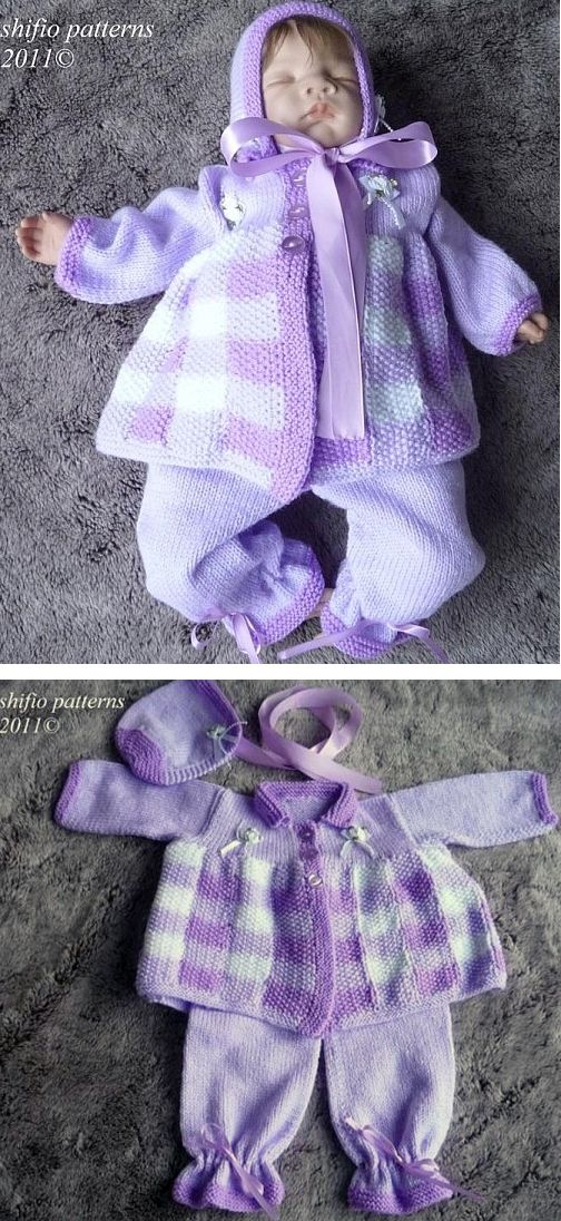 Knitting Pattern for Gingham Baby Layette Set with Matinee Jacket, Bonnet, and Pants - Sizes 4: 0-3mths,3-6 mths,6-9mths,9-12mths. See more pics and get the pattern at http://www.awin1.com/cread.php?awinaffid=234273&awinmid=6220&p=https%3A%2F%2Fwww.etsy.com%2Flisting%2F68797391%2Fknitting-pattern-for-baby-gingham