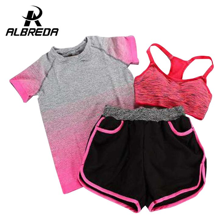 New Women Yoga Sport Suit Bra Set 3 Piece Female Short-sleeved Summer Outdoor perspiration wicking Sportswear Running  Clothes